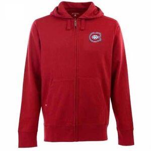 NWT Montreal Canadiens Mens Hooded Full Zip Antigua Sweatshirt - Red Medium