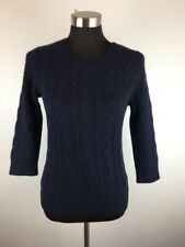 J Crew Womens Pullover Sweater S Small Navy Blue Cable Knit Cashmere Crewneck