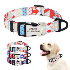 Nylon Dog Collar Personalized With Nameplate Custom Engraving ID Tag Adjustable