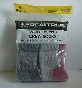 Boot Socks Wool Blend Crew Realtree® 4 Pair Pack Men Size 7-12 Odor Protection
