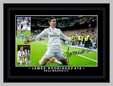 JAMES RODRIGUEZ Real Madrid CF Soccer Framed Signed A3 Photo Collage