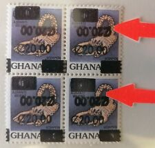 New listing GHana 1988 Surcharge Double One Inverted With Different Types M.N.H.