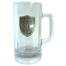 20302 80th BIRTHDAY 600ml GLASS STEIN BEER MUG SHIELD BADGE IN BOX EIGHTIETH