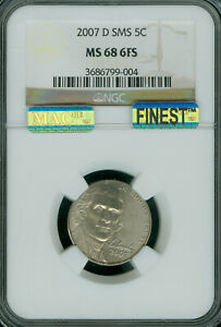 2007-D  JEFFERSON NICKEL NGC MS68 SMS FS 2ND FINEST POP-8 MAC SPOTLESS 1 FINER *