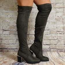 BLACK GREY KHAKI OVER THE KNEE SOCK STRETCH BOOTS HIGH HEELS GOLD TRIM SHOE SIZE
