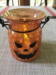 Halloween jack-o-lantern votive holder small with handle crackle glass