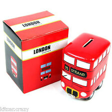 CERAMIC RED LONDON BUS MONEY BOX , COLLECTABLE, BRITISH SOUVENIRS