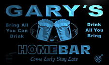 p026-b Gary's Personalized Home Bar Beer Family Name Neon Light Sign