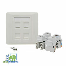 4 Port CAT6 RJ45 Network Faceplate Face Plate Single Gang Wall Socket
