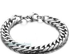 Men's Boy's Stainless Steel Square Cuban Curb Link Chain Bracelet Silver Tone