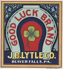 "RARE OLD ORIGINAL 1910 ""GOOD LUCK BRAND"" APPLE LABEL BEAVER FALLS PA~ J.B. LYTLE"