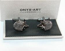 Novelty Cufflinks - HEDGEHOG with Cystal Eye Design *Boxed* Gift