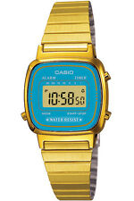Casio Donna Orologio Watch Woman Uhr LA670WGA-2DF Dorato Quadrante Azzurro Crono