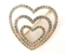 """Heart Shaped Pastel Rhinestones Brooch~Pin Excellent Condition 1 3/4"""""""