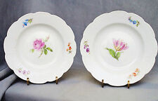 Pair Small Plate Meissen, Old Osier, Flower Painting, Knauf Time (a)