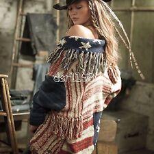 Ralph Lauren Denim Supply Women USA Flag Patchwork Fringed Sweater Cardigan XS/S