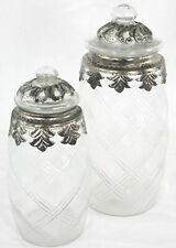 Small Embossed Vintage Diamond Pattern Glass And Metal Jar With Lid Vase Storage