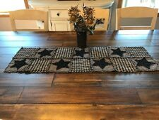 NEW Plaid Homespun PriMiTivE Rag Quilt Table Runner Black Tan Stars Country