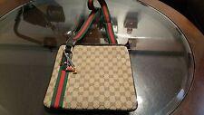 Vintage Gucci Messenger Bag Shoulder Bag Brown With Red & Green webbing Strap