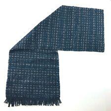 John Varvatos Merino Wool Black Gray Fringe Winter Scarf Mens 13x80 NWT