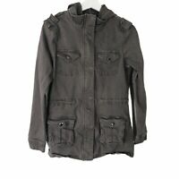 Market Spruce Stitch Fix Small Removable Hood Utility Jacket Gray Snap Pockets
