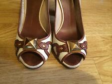 GIUSEPPE ZANOTTI peep open toe canvas beige studded block heel shoes 38.5 5.5