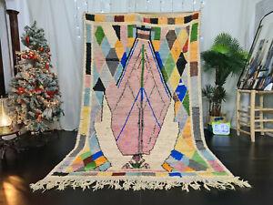"Moroccan Handmade Boujad Berber Rug 5'6""x9'4"" Abstract Purple Tribal Wool Carpet"