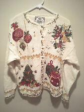 Vintage Ugly Christmas Sweater Tacky - Large White Tiara Xmas Tree & Ornaments !