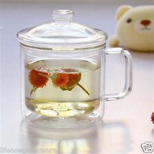 450ml Large Tea Mug with Handle Double Wall Glass Coffee Cup Lid with Glass Knob