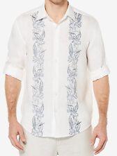 Men's Cubavera Tropical Print 100% Linen - Bright White, Size: M