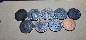 Lot of 9 Mixed Large Cents 1c Damaged