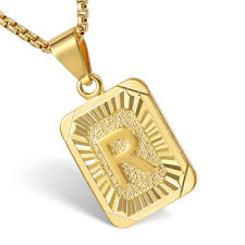 Mens Women Chain Pendant Necklace Gold Filled Square Initial Letter A-Z  Hip Hop