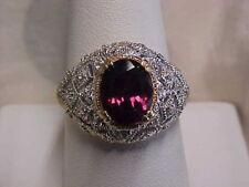 *ESTATE*2.00ct RHODOLITE GARNET & PAVE SET DIAMOND RING 14K YELLOW GOLD sz7 GIFT