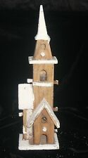 REDUCED PRICE  LED LIT SNOWY NATURAL WOODEN CHURCH BAT OP 10 LEDS CHRISTMAS