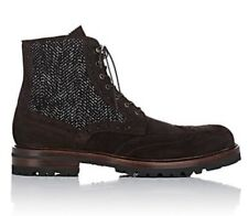 Barneys New York Wingtip Leather Suede Boots Size 11.5 Made In Italy $540.00