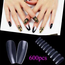 600pcs/bag Ballerina Nail Tips Full Nails Salon Decorated Transparent Fake Nail