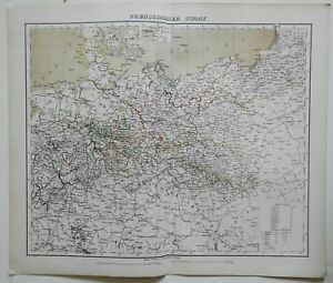 Prussia German Empire Berlin Belle Epoque 1874 Flemming detailed large map