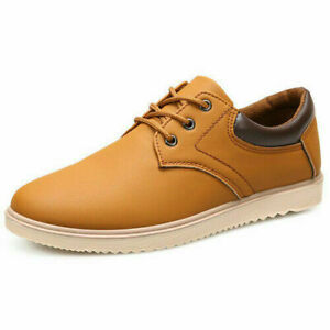 Men's Faux Leather Casual Shoe Summer Lace Up Comfortable Flat Shoes Low Top New