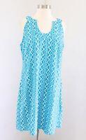 NWT Aryeh Turquoise Blue White Zigzag Striped Nylon Shift Dress Sz L Sleeveless