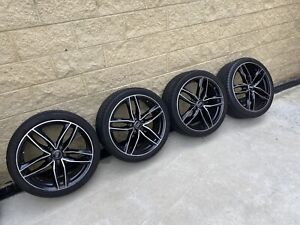 """19"""" Audi A4, B7 RS rims x 4, black with polished face 245x 45 tyres 95% tread"""