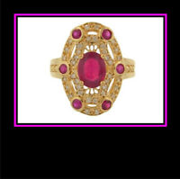 Ladies 14K Yellow Gold Synthetic Ruby and Diamond Dinner Ring