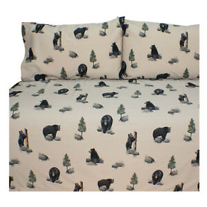 Black Bears in the Woods Sheet Set 4 Size Matches The Bears BRT Comforter Set