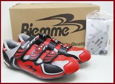 NOS BIEMME ROAD CYCLING SHOES EU 41 SHIMANO / LOOK CLEAT ADAPTER BLACK RED