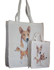 More details for basenji dog adult & child shopping or dog treats packed lunch etc tote bag