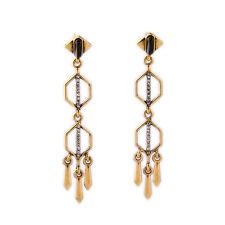 NEW * Anthropologie Daisi Black Bead Rhinestone Curvy Spike Earrings
