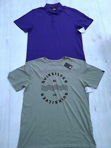 LYLE & SCOTT & QUIKSILVER MENS PURPLE GREEN T-SHIRT TOP SIZE XL BUNDLE NEW