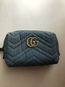Gucci Denim Pearls Cosmetic Case