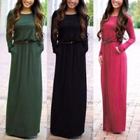 Fashion Women Casual Long Belted Sleeve Party Evening Cocktail Maxi Long Dress