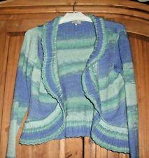 'M&S Per Una' Peppermint & Blue Long Sleeve Cardigan, Scalloped Open Front, Sz L