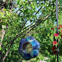 """Sunnydaze Outdoor Hanging Bird Feeder Indigo Glass Flower Fly-Through - 9"""""""